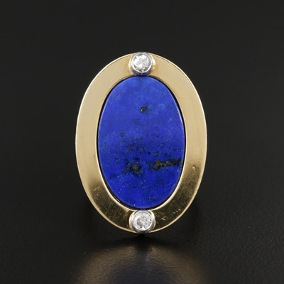Vintage 18K Yellow Gold Lapis Lazuli and Diamond Ring with Palladium Accents