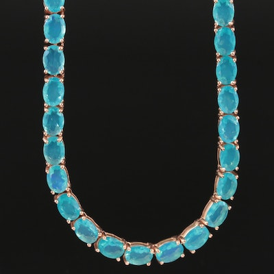 Sterling Silver Opal Revière Necklace