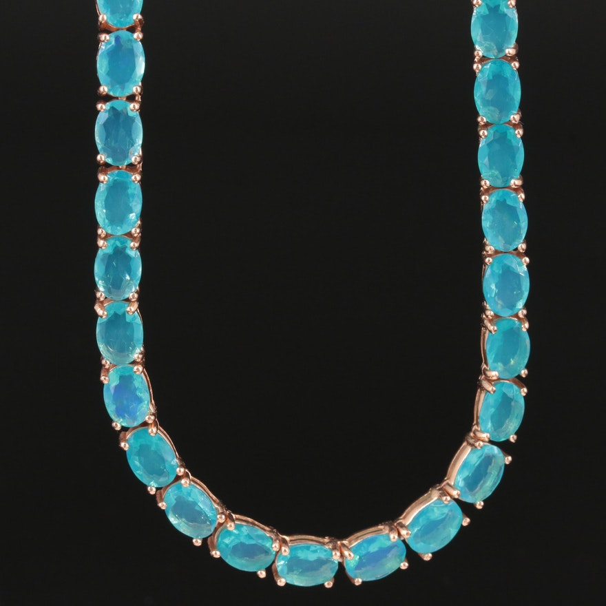 Sterling Silver Opal Revière Necklace