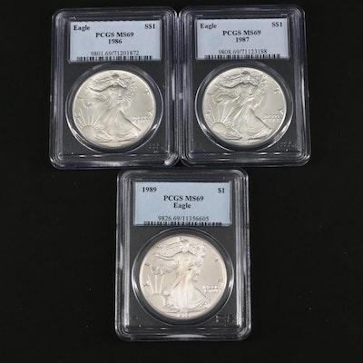 Three PCGS Graded MS69 American Silver Eagle Bullion Coins