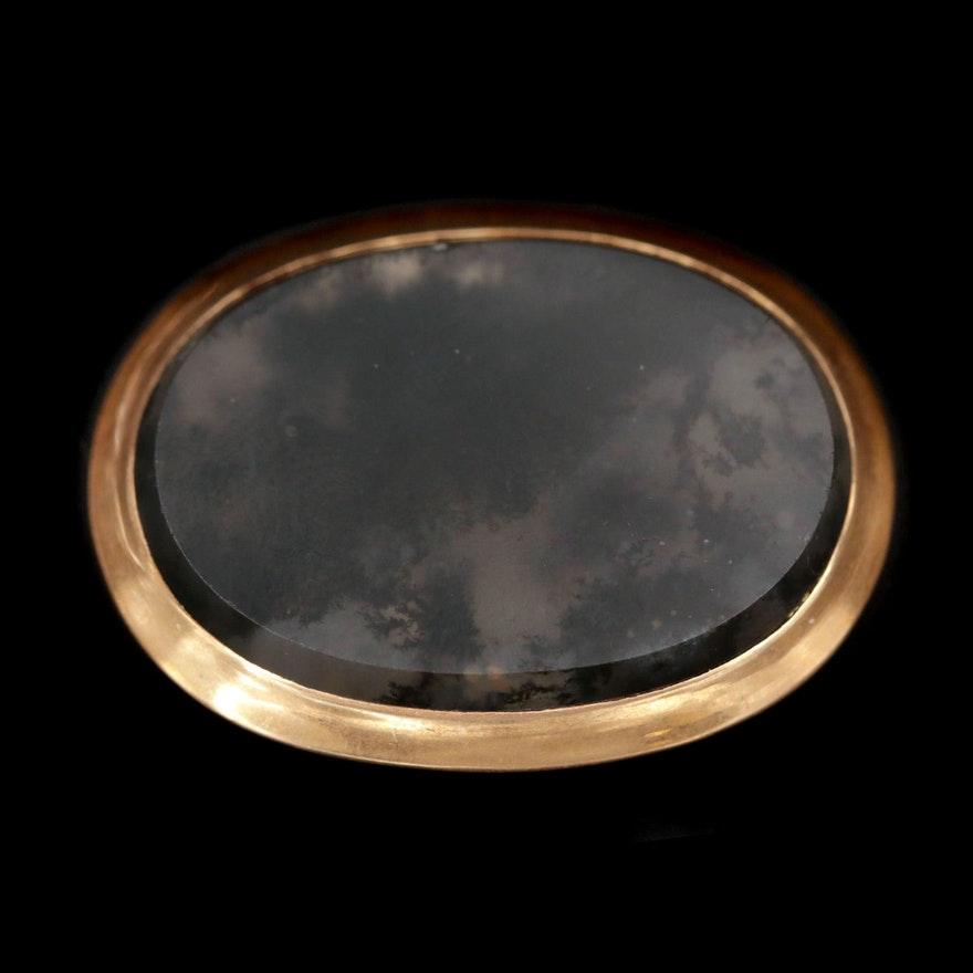 Arts and Crafts 18K Yellow Gold Moss Agate Brooch