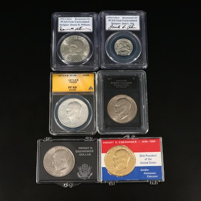Five Eisenhower Dollars and a Bicentennial Quarter, Including Silver and Proof