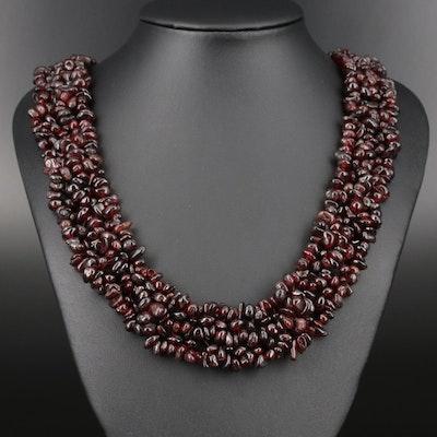 Sterling Silver Woven Garnet Bead Necklace