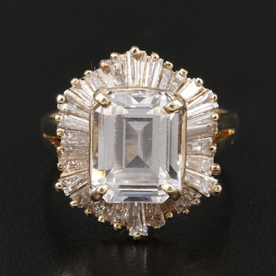 14K Yellow Gold White Spinel and 1.05 CTW Diamond Ring