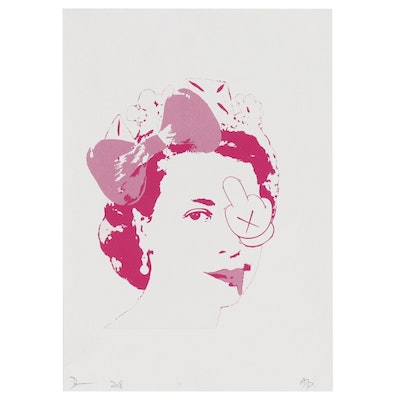 Death NYC Offset Lithograph Featuring the Queen of England