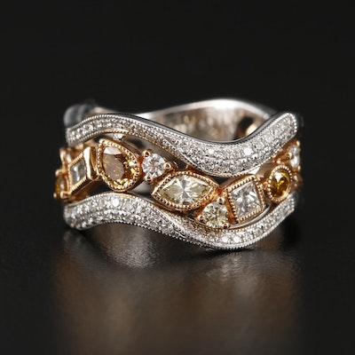 Parade 18K White and Rose Gold Diamond Band