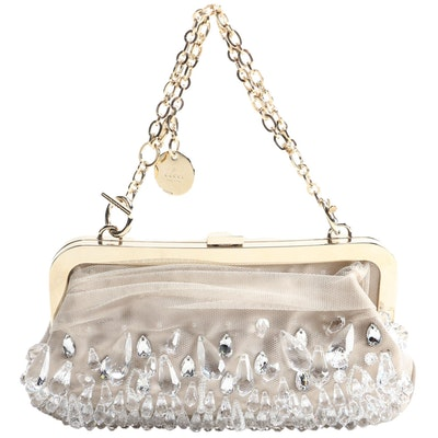Gucci Crystal Drop Embellished Mesh and Satin Evening Bag