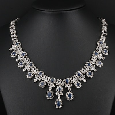 Sterling Silver Sapphire and Marcasite Necklace