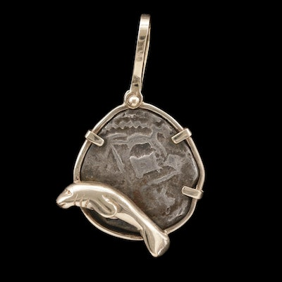 14K Pendant with Circa 1700 Spanish Colonial Silver Cob Coin and Manatee Accent