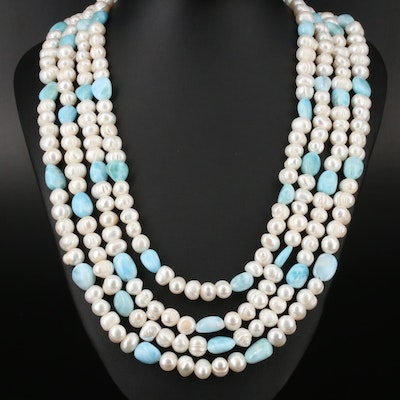 Sterling Silver Larimar and Pearl Multi-Strand Necklace