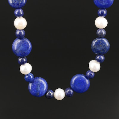 Sterling Silver Lapis Lazuli and Cultured Pearl Necklace