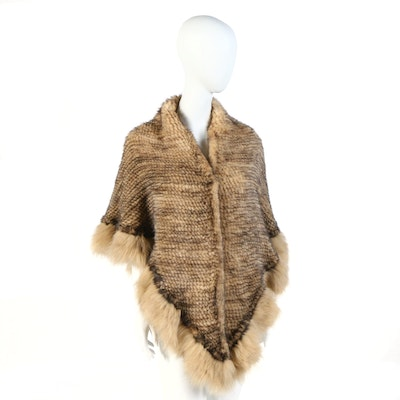 Knitted Mink Fur Shawl Wrap with Fox Fur Trim