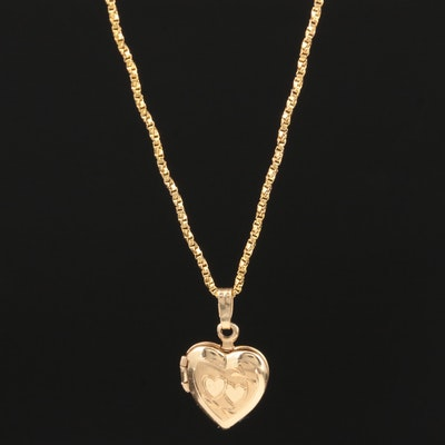 14K Yellow Gold Twist Box Chain with Engraved Heart Locket Pendant