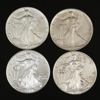 Four American Silver Eagle Bullion Coins