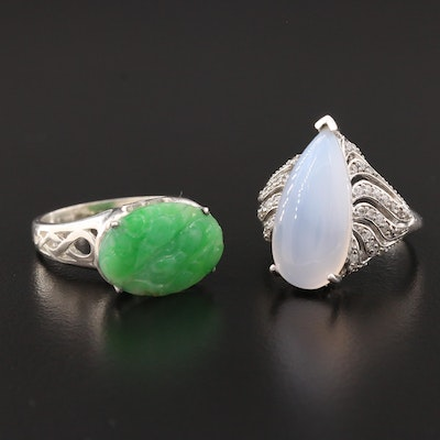 Sterling Nephrite, Chalcedony and Cubic Zirconia Rings