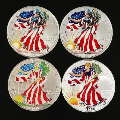 Four Colorized American Silver Eagle Bullion Coins