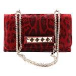Valentino Rockstud Red Animal Print Calf Hair Va Va Voom Shoulder Bag