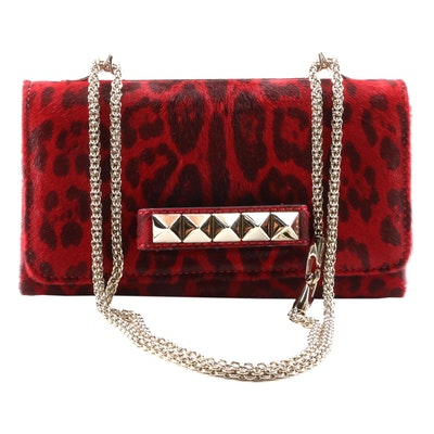 Valentino Rockstud Red Animal Print Calf Hair Va Va Voom Shoulder Bag