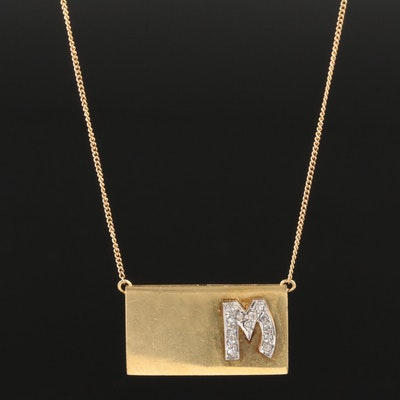 "18K Yellow Gold Diamond Initial ""M"" Pendant Necklace"