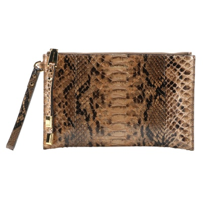 Michael Kors Miranda Python Zip Clutch in Suntan