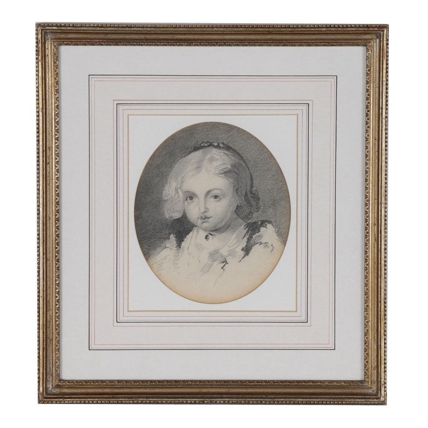 Graphite Portrait Drawing, Late 19th Century
