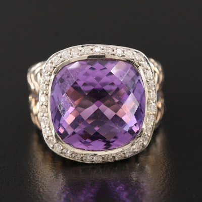Scott Kay Sterling Silver Amethyst and Diamond Ring with Basketweave Motif