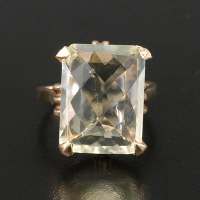 10K Yellow Gold Citrine Solitaire Ring