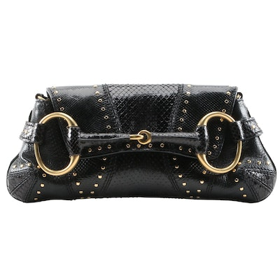 Gucci Studded Black Snakeskin Horsebit Chain Clutch