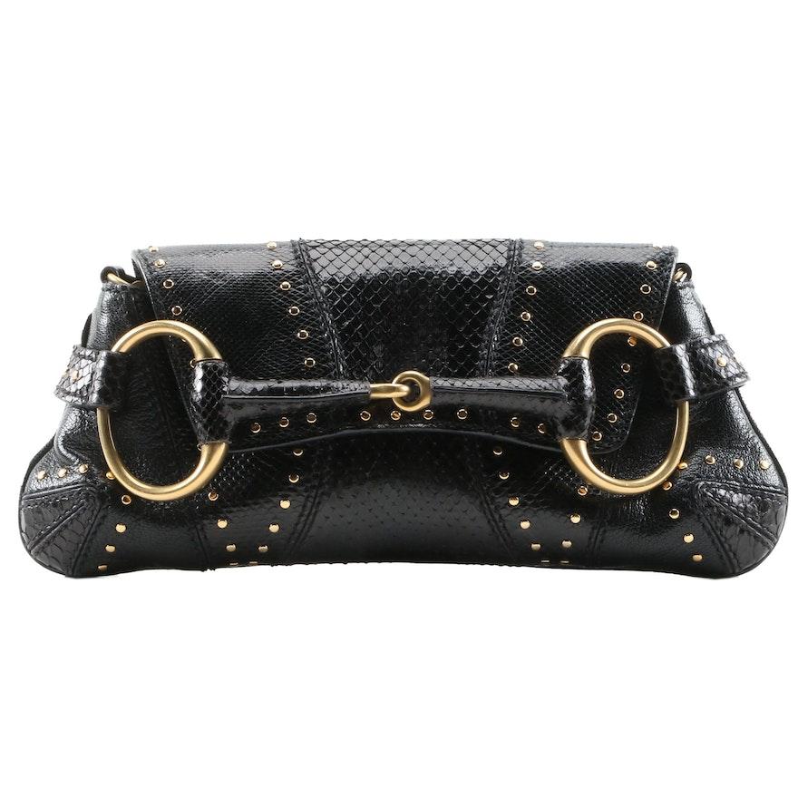 Gucci Studded Black Snakeskin Horsebit Chain Clutch