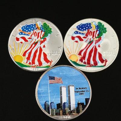 Three Colorized American Silver Eagle Bullion Coins