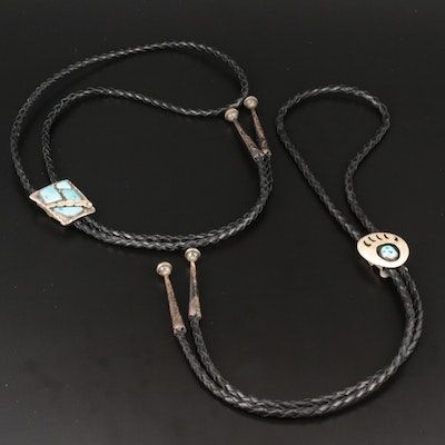 Southwestern Style Sterling, 800 Silver and Silver Tone Turquoise Bolo Ties