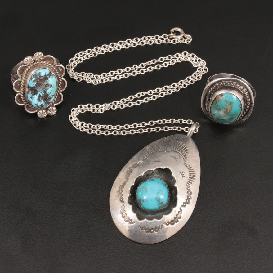 Southwestern Style Sterling Silver Turquoise Featuring Tully Sam
