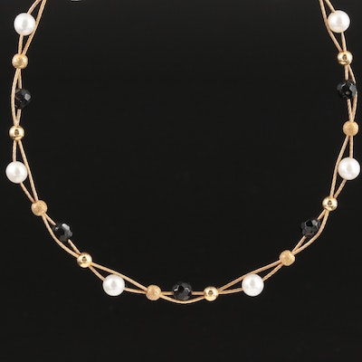 14K Yellow Gold Pearl and Black Onyx Necklace