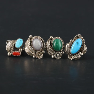 Southwestern Style Sterling Gemstone Rings Featuring George Nakai Navajo Diné