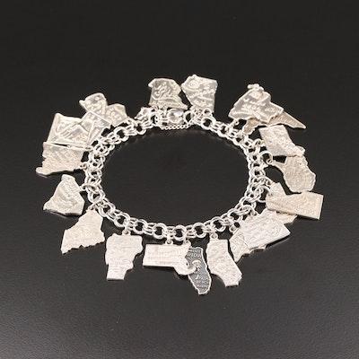 United States Sterling Silver Charm Bracelet