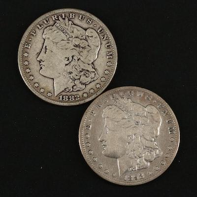 1882-S and Semi Key Date 1892-S Morgan Silver Dollars