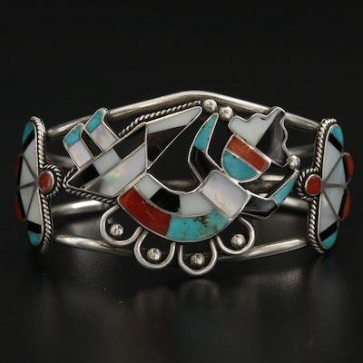 Southwestern Style Sterling Silver, Turquoise Rainbow Man Cuff Bracelet