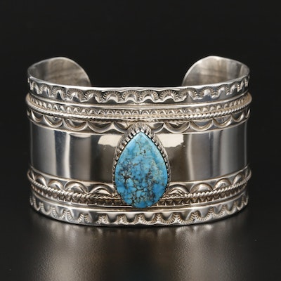 Lucille Platero Navajo Diné Sterling Silver Turquoise Stamp Work Cuff Bracelet