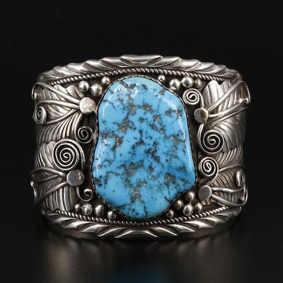 Fannie Platero Navajo Diné Sterling Silver Turquoise Cuff Bracelet