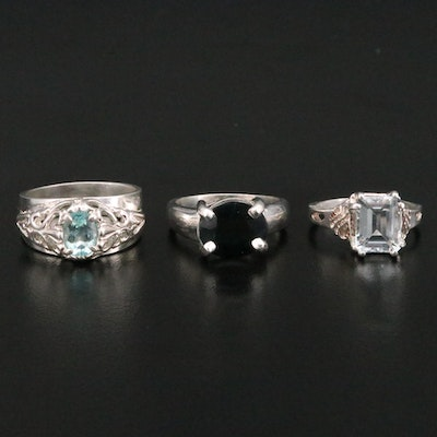 Sterling Silver Rings with Sapphire and Aquamarine