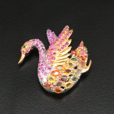 Sterling Silver Sapphire, Ruby and Diopside Swan Converter Brooch
