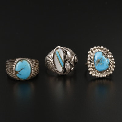 Southwestern Style Sterling Silver Turquoise and Mother of Pearl Rings