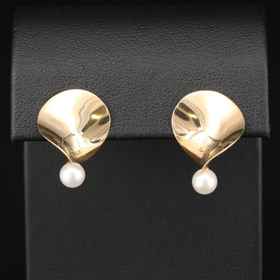 Timothy Grannis 14K Yellow Gold Pearl Earrings