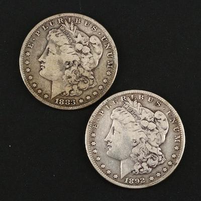 1883-S and Semi Key Date 1892-S Morgan Silver Dollars