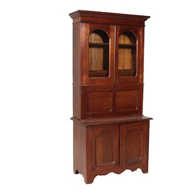 American Walnut Fall-Front Secretary Bookcase, Late 19th Century
