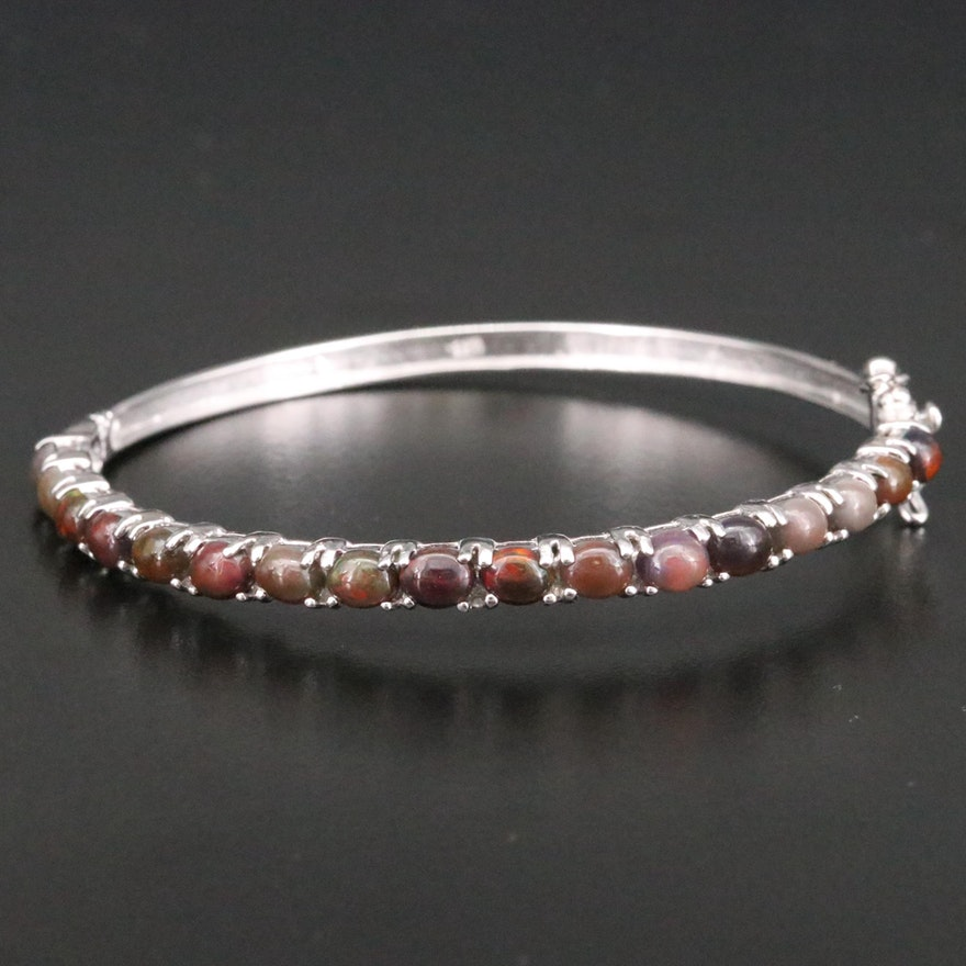 Sterling Silver Opal Hinged Bangle Bracelet