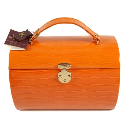 Rowallan Travel Jewelry Case in Croc-Embossed Orange Leather with Box