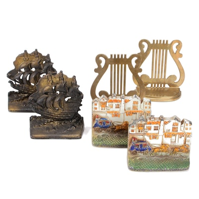 Brass and Metal Figural Bookends, Three Sets