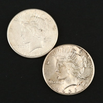 1926-S and 1935-S Peace Silver Dollars