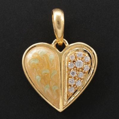 18K Yellow Gold Cubic Zirconia and Enamel Heart Pendant